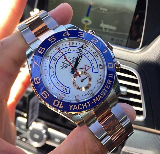 Rolex Yacht-Master II in two tone rose gold.