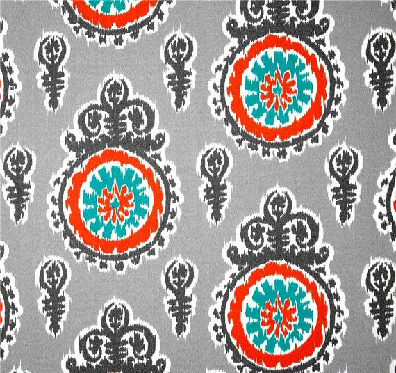 Captivating Modern Outdoor Ikat Fabric Orange Grey Aqua Blue Fabric By The Yard,  Designer Outdoor Fabric