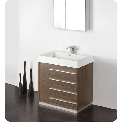 Fresca Livello 30 Inch Gray Oak Modern Bathroom Vanity With