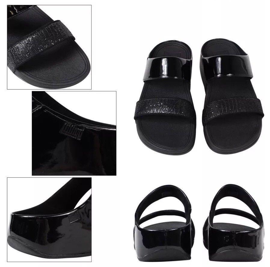 73a461e04 FitFlop Womens Sandals Shoes Lulu Superglitz Slide Comfort Black US 10 EUR  41