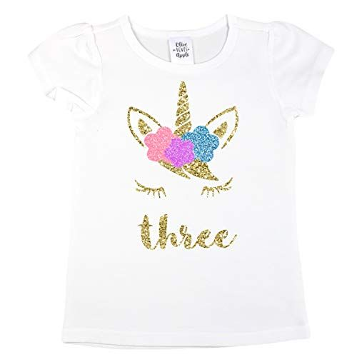 Olive Loves Apple Girls 3rd Birthday Shirt Unicorn Face Three Short Sleeve Puff Sleeves With