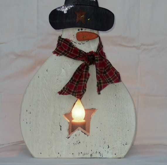 Wood Snowman Christmas Snowman Decoration by countryprim on Etsy
