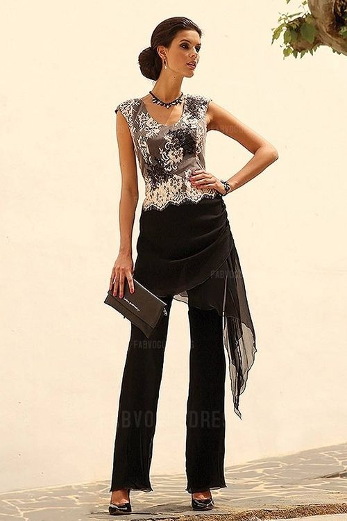 Pant Suits Scoop Ankle-length 30D Chiffon Mother of the Bride Dress