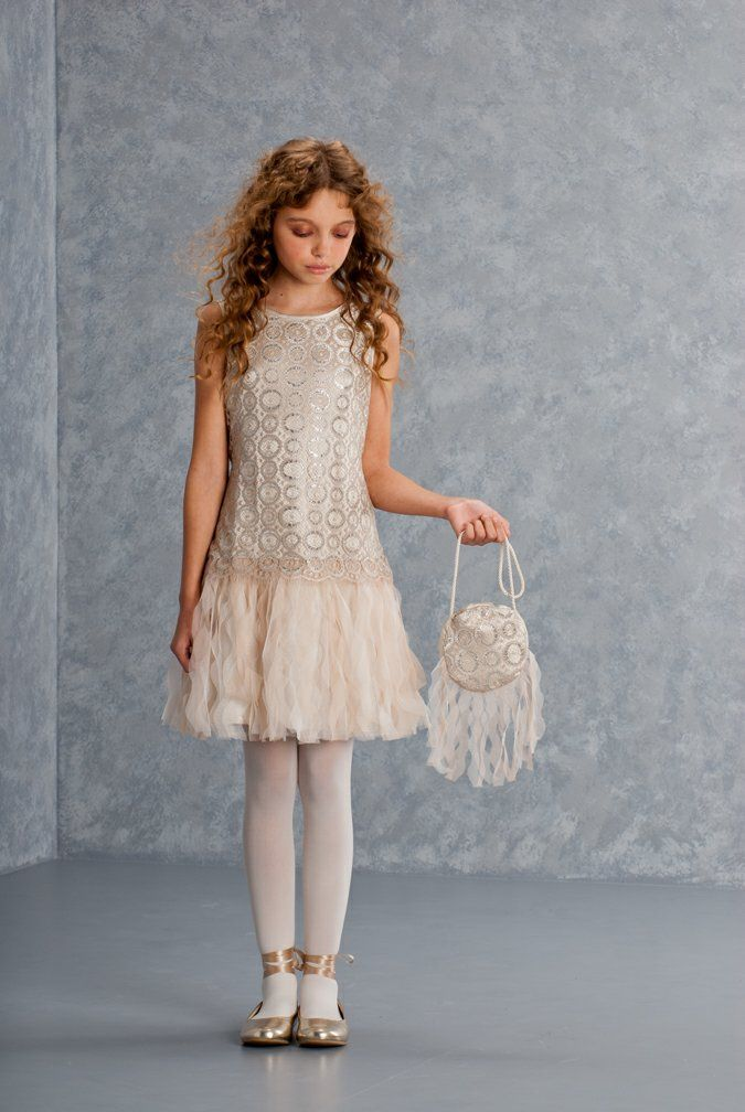 Biscotti Girls 7-8 Luminous Lace Drop Waist Dress | First Holy ...
