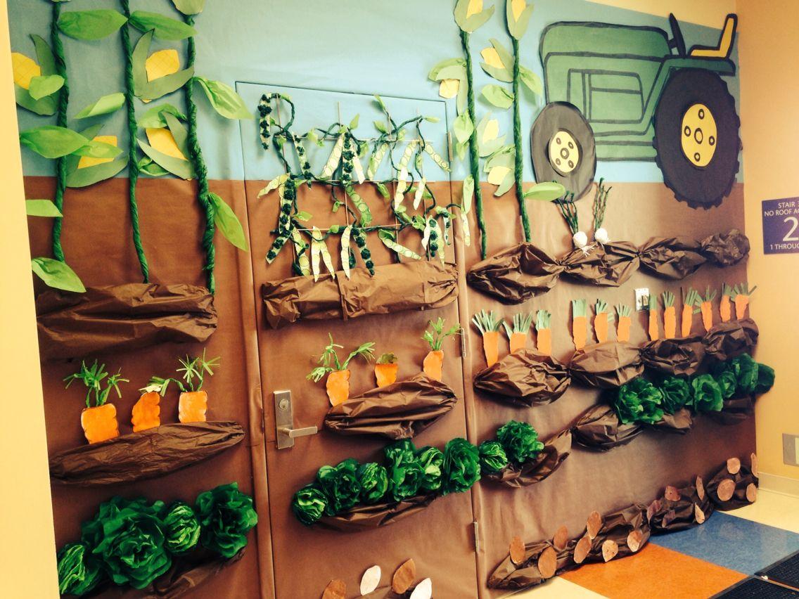 Kindergarten Garden mural. Plants unit.