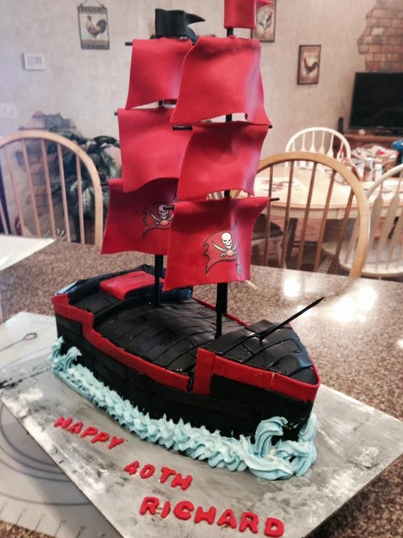 Pirate Ship Tampa Bay Buccaneers by CatA Cake Decorating