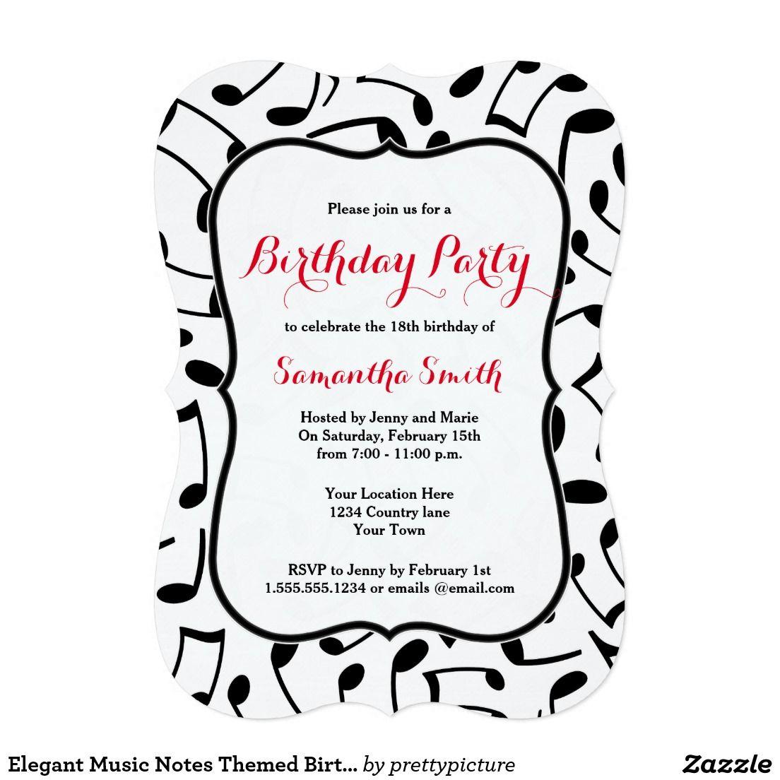 Elegant Music Notes Themed Birthday Party Invite   Themed birthday ...