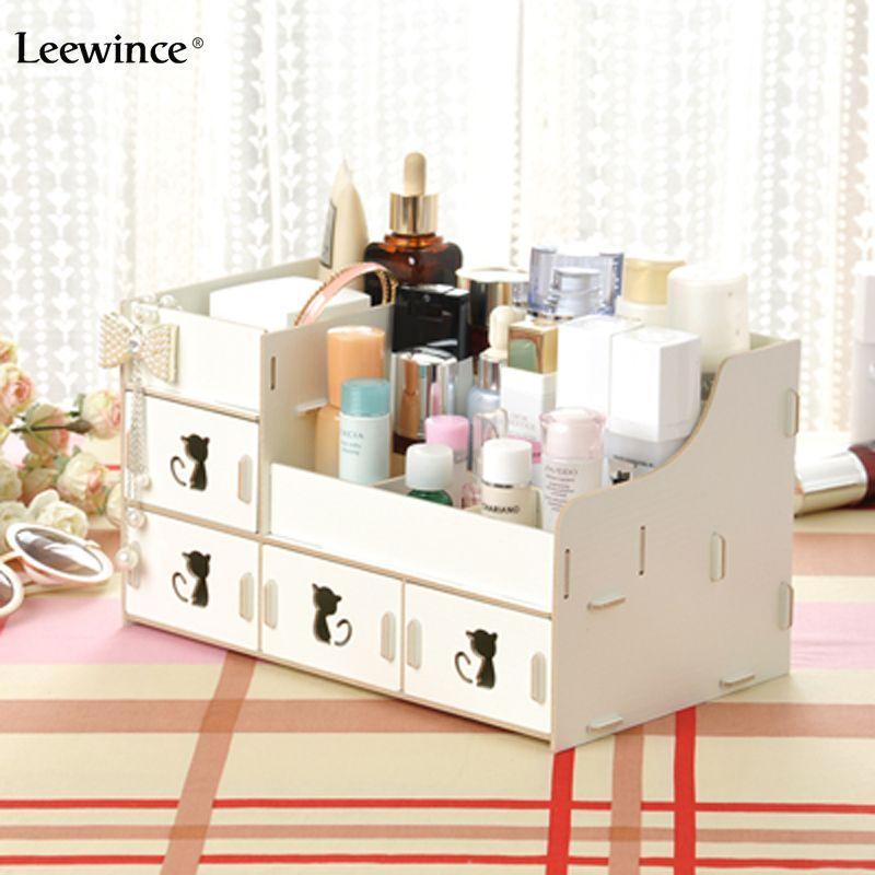 Leewince Cat Style Desktop Storage Box Cosmetic Box Diy Creative