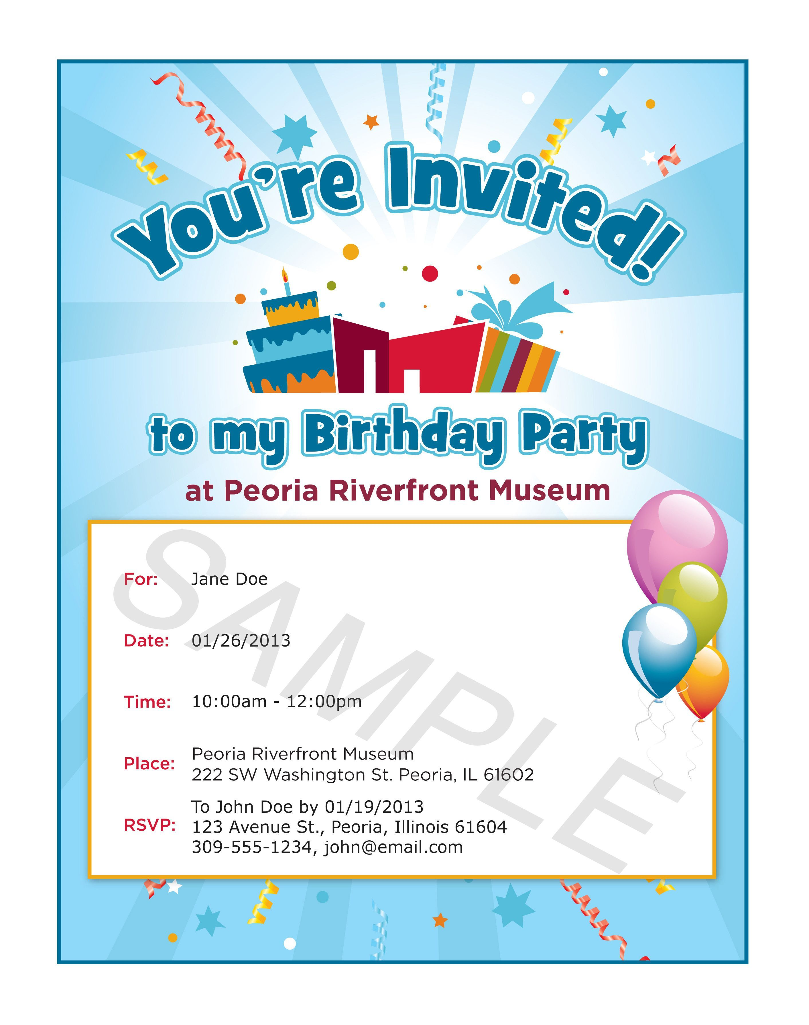 Party Invitation Examples  Invitation card birthday, Party invite