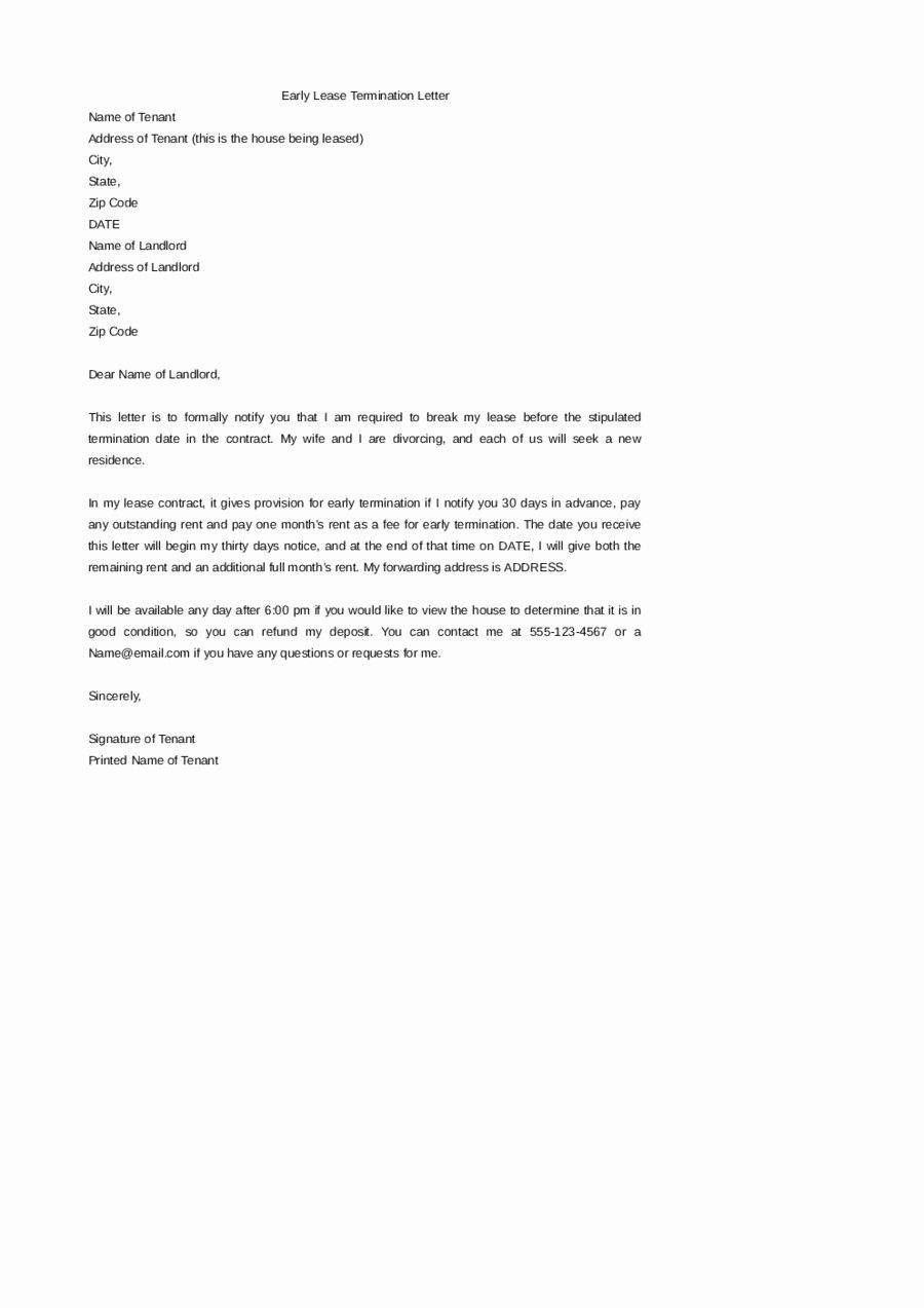 19+ Early lease termination letter to landlord inspirations