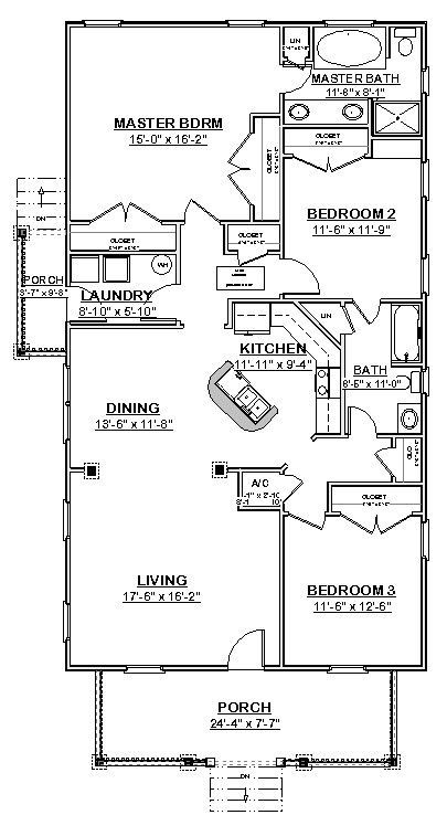 AFFORDABLE HOUSE HOME Blueprints Plans 3 bedrooms 1620 sf