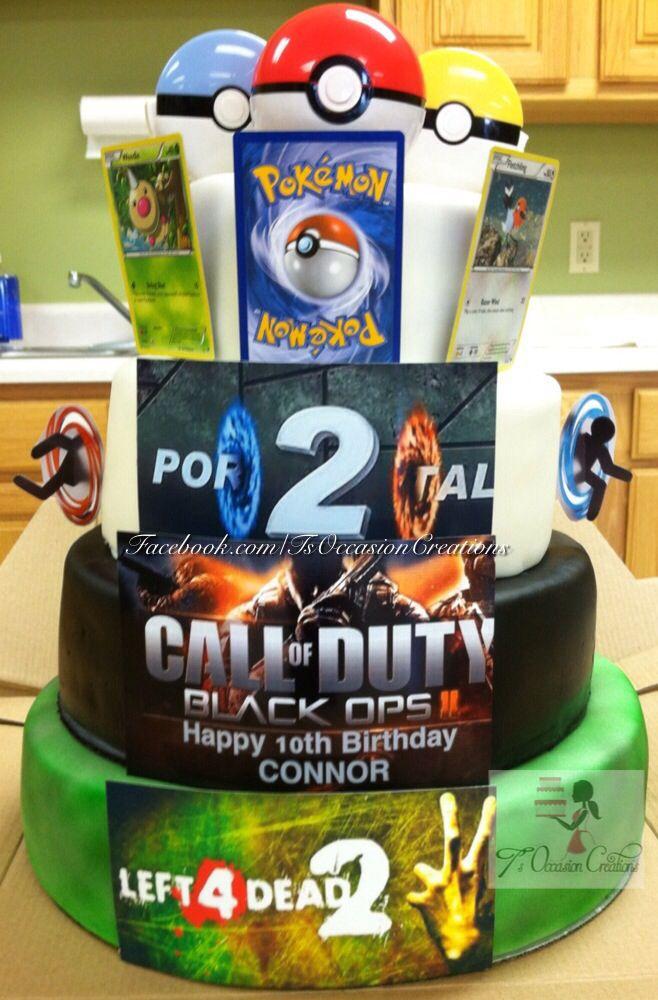 Amazing Ts Gamer Birthday Cake Left 4 Dead Black Ops 2 Portal 2 And Funny Birthday Cards Online Inifodamsfinfo
