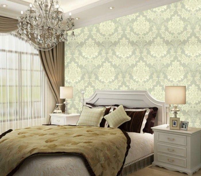 schlafzimmer fransen doppelbett wanddekoration tapete Beleuchtung - tapeten design schlafzimmer