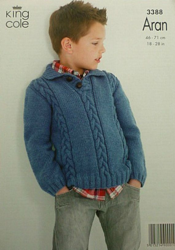 2468dc673a9d Boys Knitting Pattern K3388 Childrens Long Sleeve Cable Jumper with ...