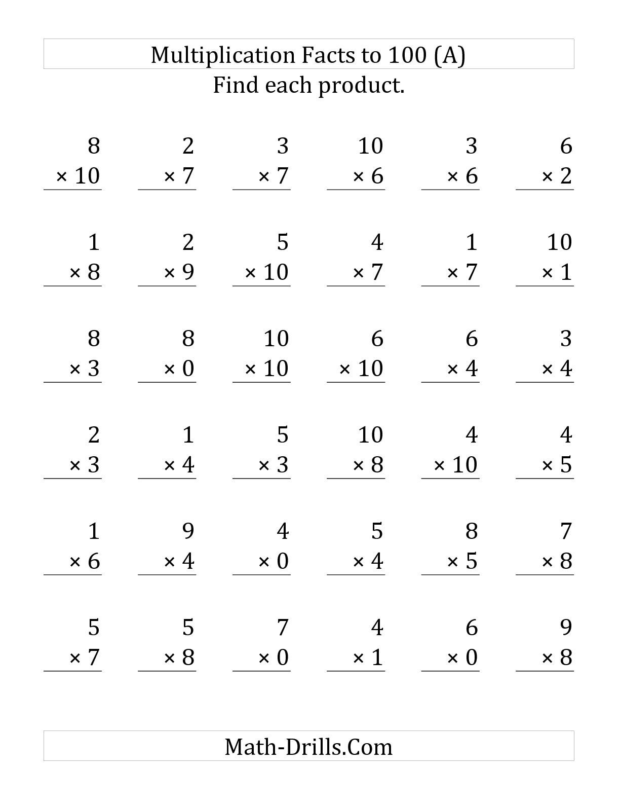 Worksheets 100 Multiplication Facts Worksheet