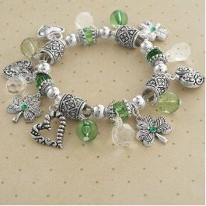 Irish Hearts and Shamrocks Stretch Charm Bracelet - Jewelry Gifts for St Patrick's Day