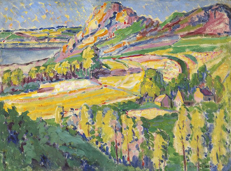 "This work, painted in Brittany, is a confident, dramatic depiction of the French landscape, reflecting the influence of Post-Impressionism on Emily Carr's work. ""Autumn in France,"" 1911, National Gallery of Canada."