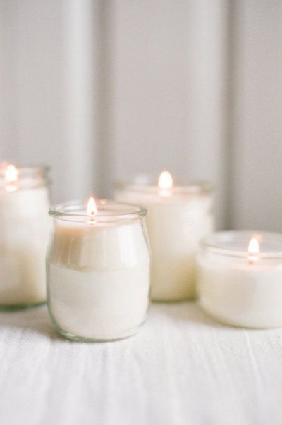 repurposed glass yogurt jars as candles
