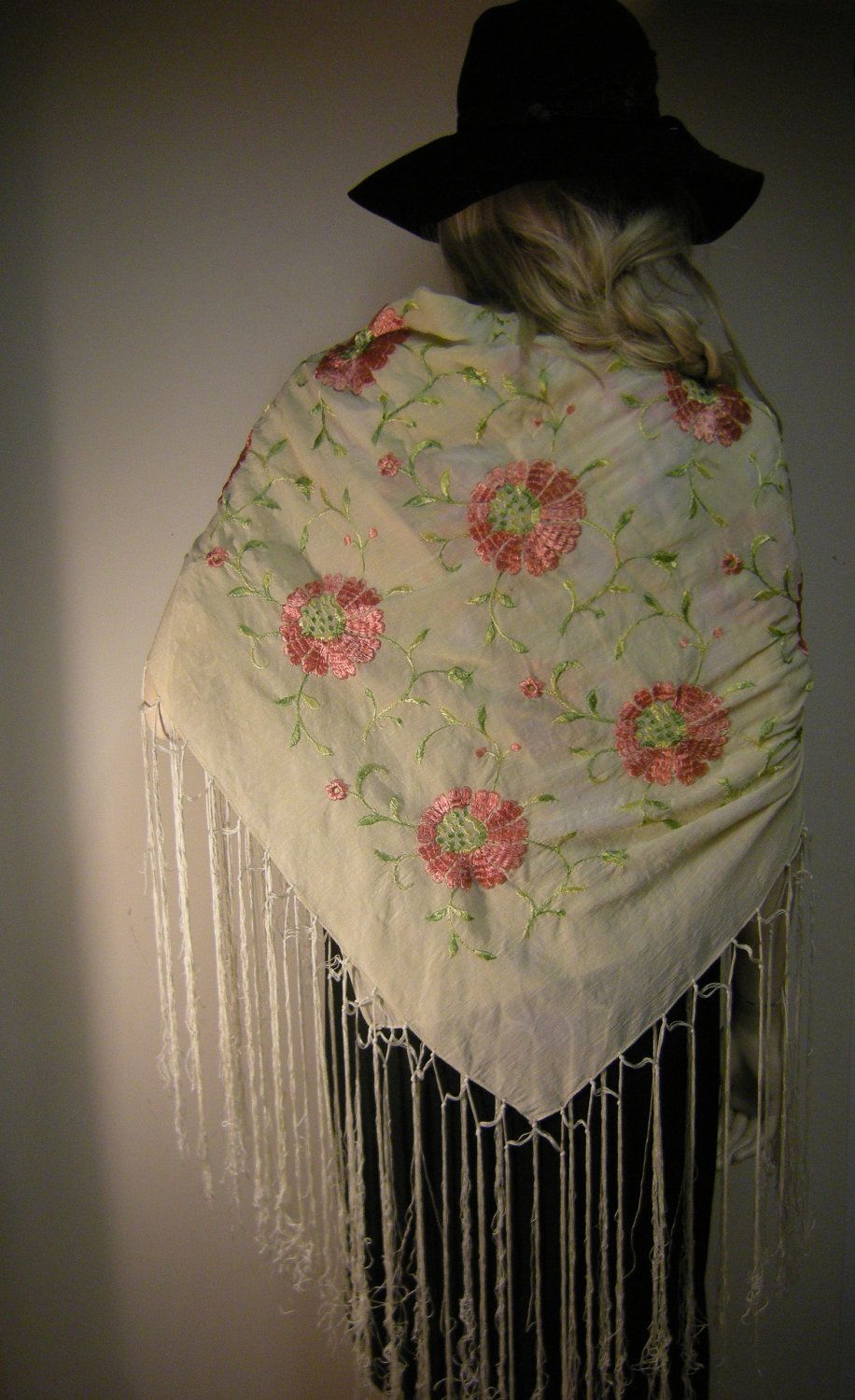 Antique 1920s Silk Floral Embroidered Piano Shawl With