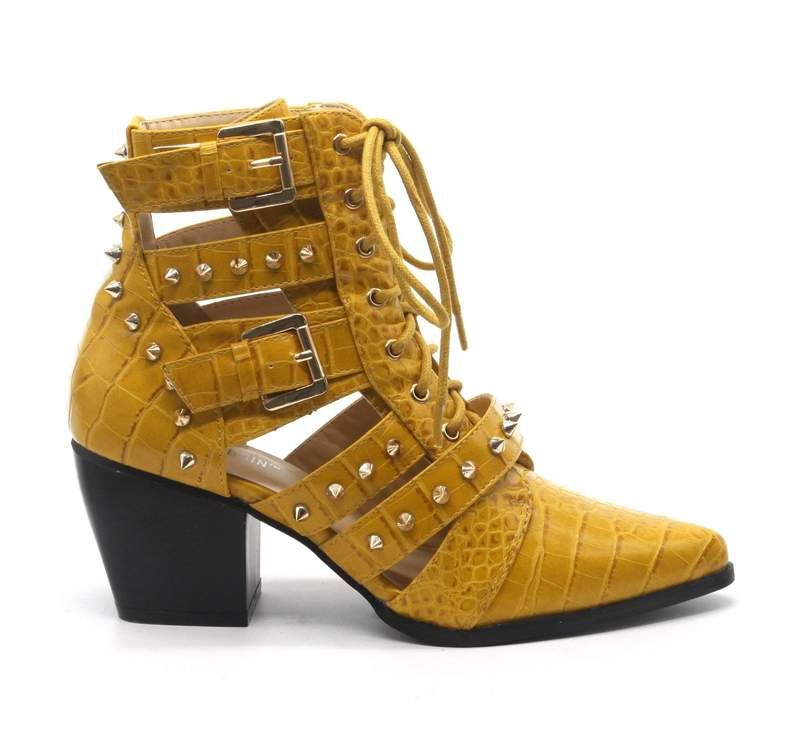 Women's Ladies High Heel Pointy Toe Ankle Boots Side Zip Costumes Party Yellow