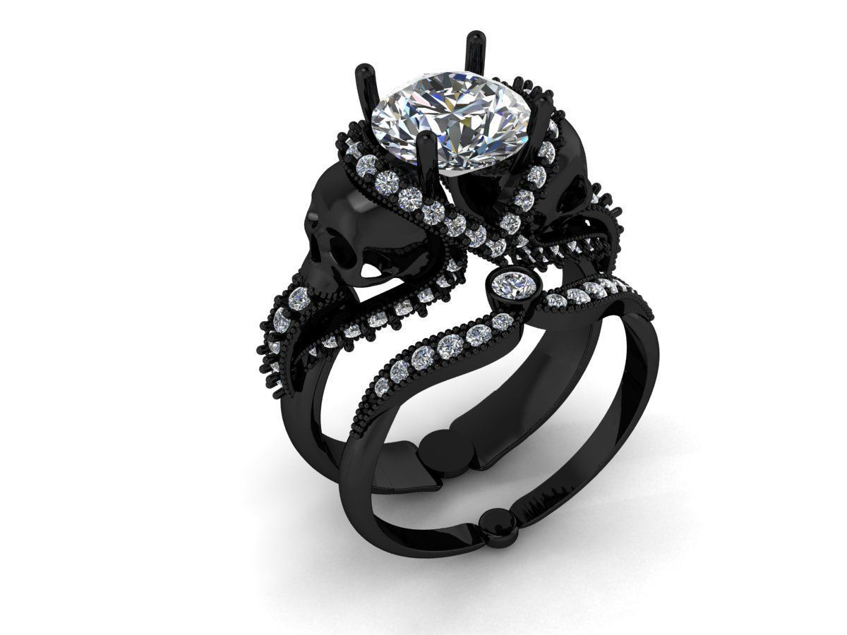 Custom made black platinum with platinum skull engagement ring
