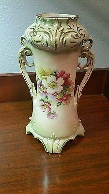 Vintage-Porcelain-Floral-w-Double-Handled-Gold-Trim-Vase-10-034-x-6-034