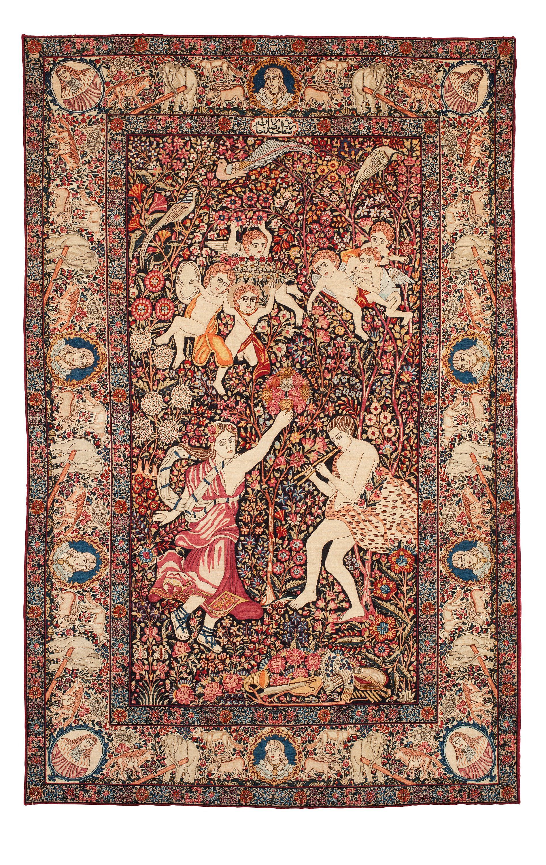 Persian Kerman Laver Rug Unusual Neoclassical Design With Inscription Commissioned By Mohammad Reza Khan Persian Culture Ancient Persia Iranian Art