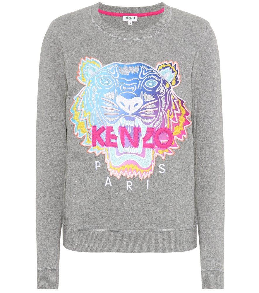 Kenzo Felpa In Cotone Con Ricamo Il Ricamo A Tigre Multicolor Di Kenzo Risalta Con Grinta Sulla Nuance G Printed Sweatshirts Sweatshirts Cotton Sweatshirts [ 1000 x 885 Pixel ]