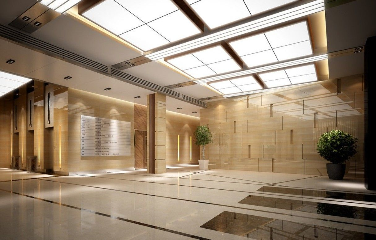 Modern ceiling design for hotel lobby design with glass for Modern hotel design