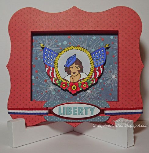 3d frame and easel.  Stamps by Bombshell Stamps. Crafty Pink Anchor: Liberty