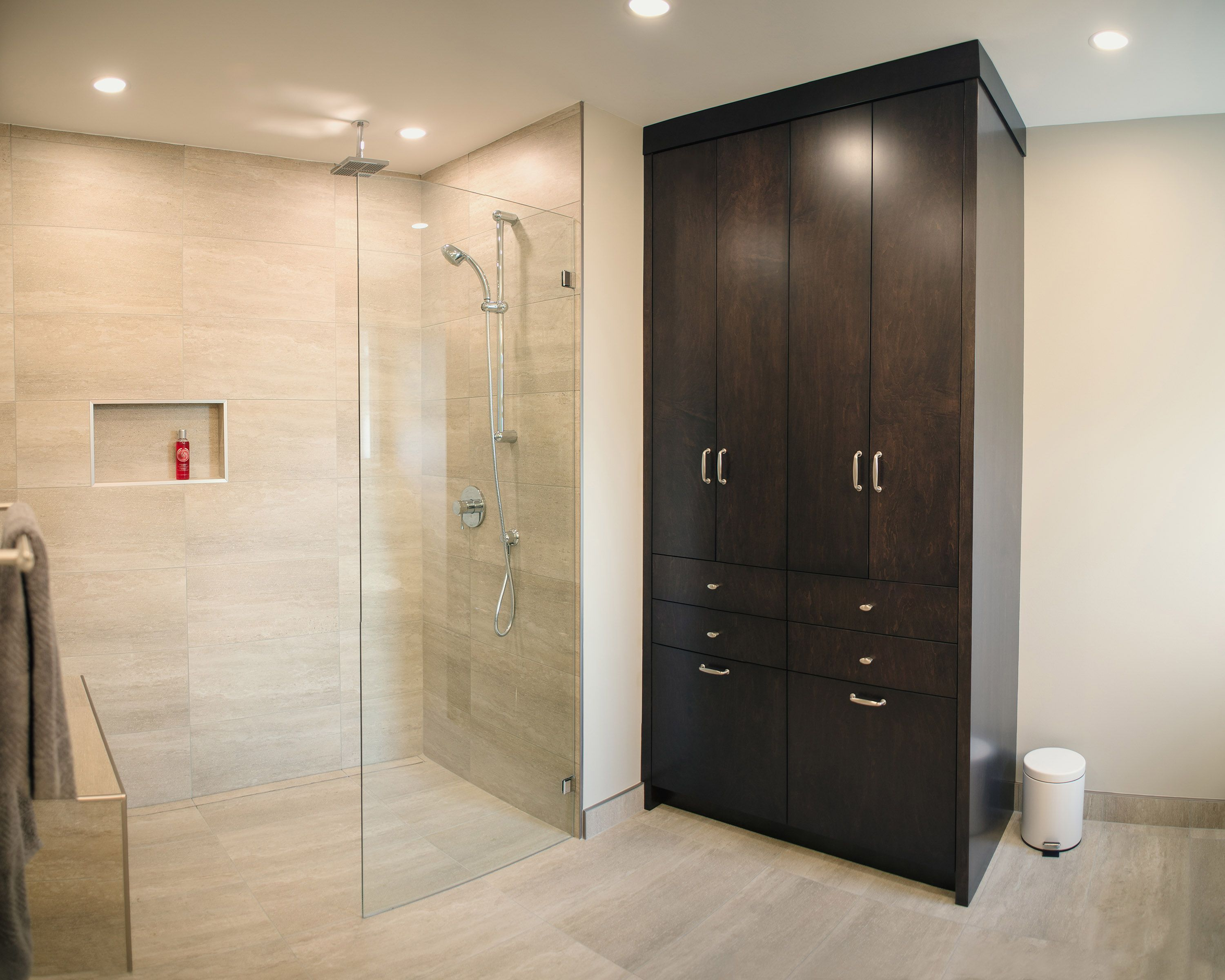 Custom bathroom cabinetry with Schluter System Shower | Bathrooms ...