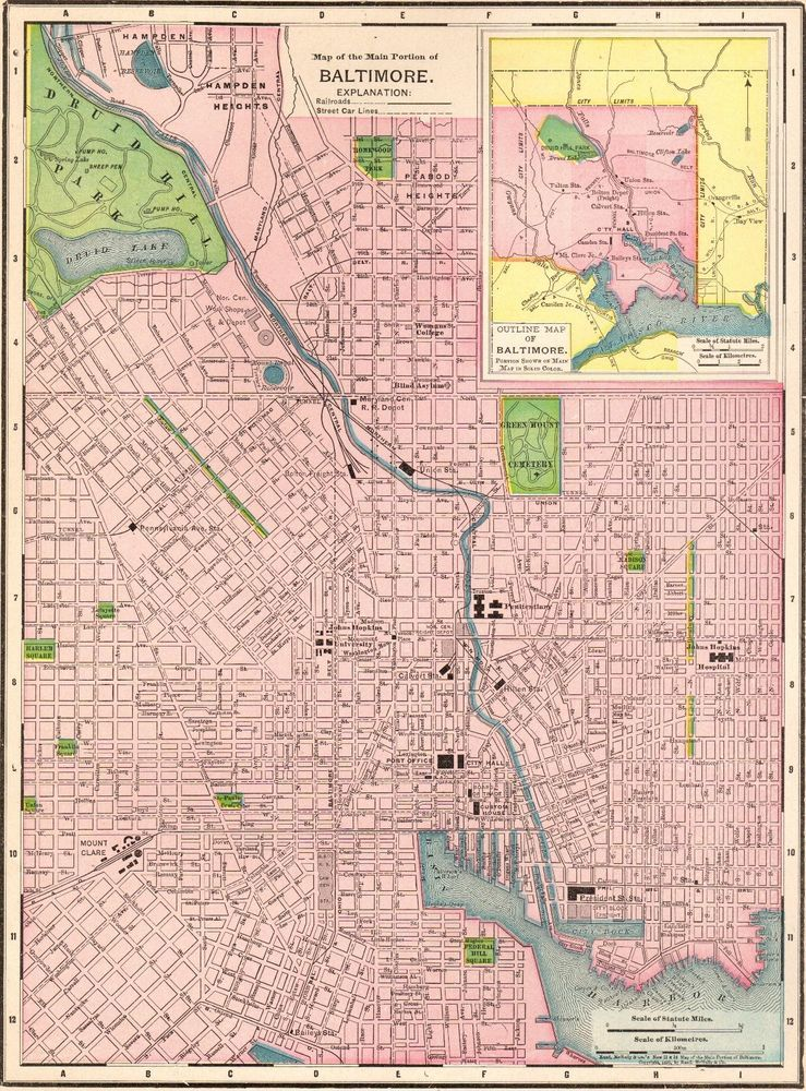 Details about 1913 Antique BALTIMORE Map Original Vintage Map of ...