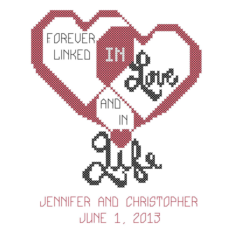 Interlocking Hearts Cross Stitch Pattern/Wedding Cross Stitch ...