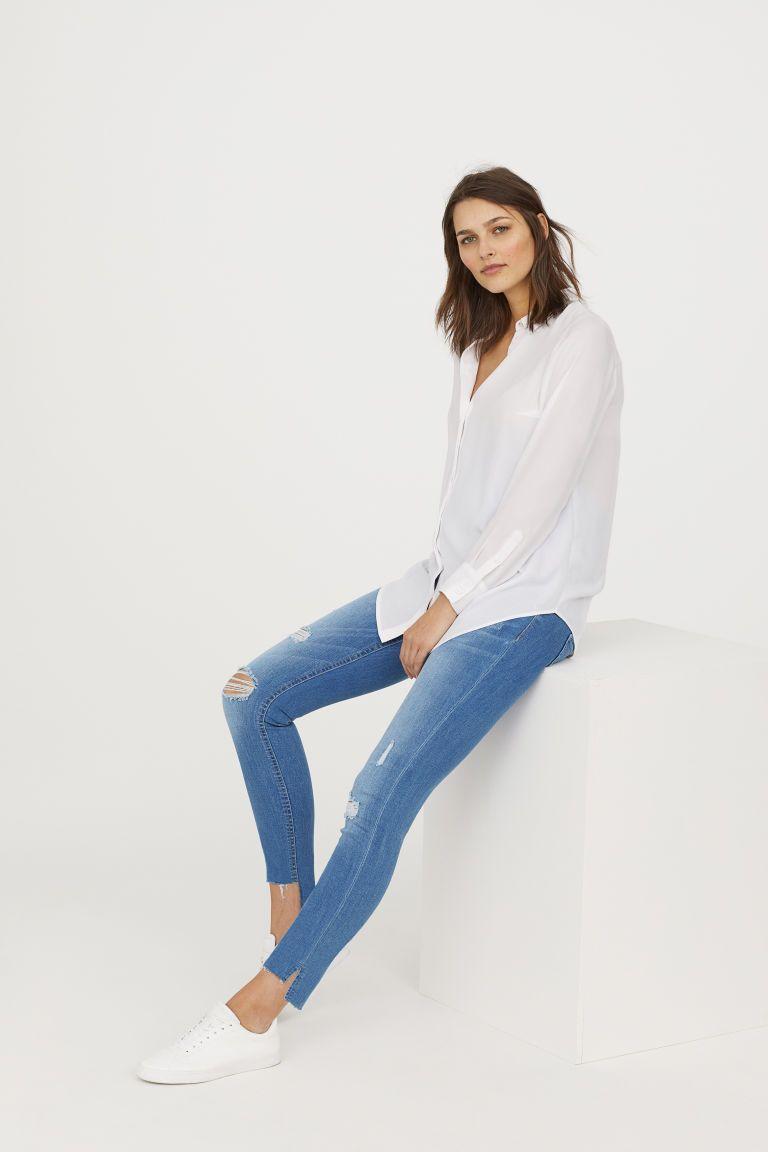 9b19052223c39 MAMA Skinny Ankle Jeans - Light denim blue/Trashed - Ladies | H&M 1 Στυλ