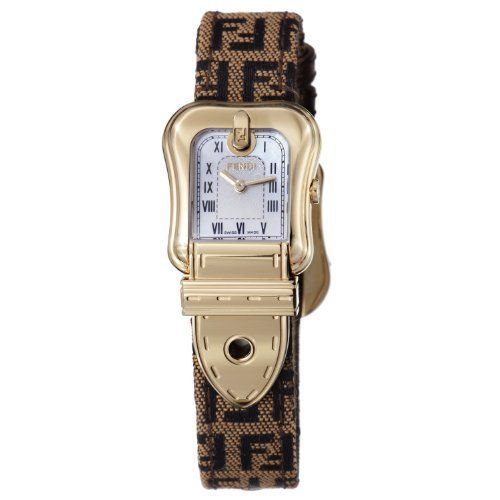 Fendi B. Fendi Ladies Brown Fabric Leather Strap Yellow Gold Plated Watch F373242F Fendi. $519.99