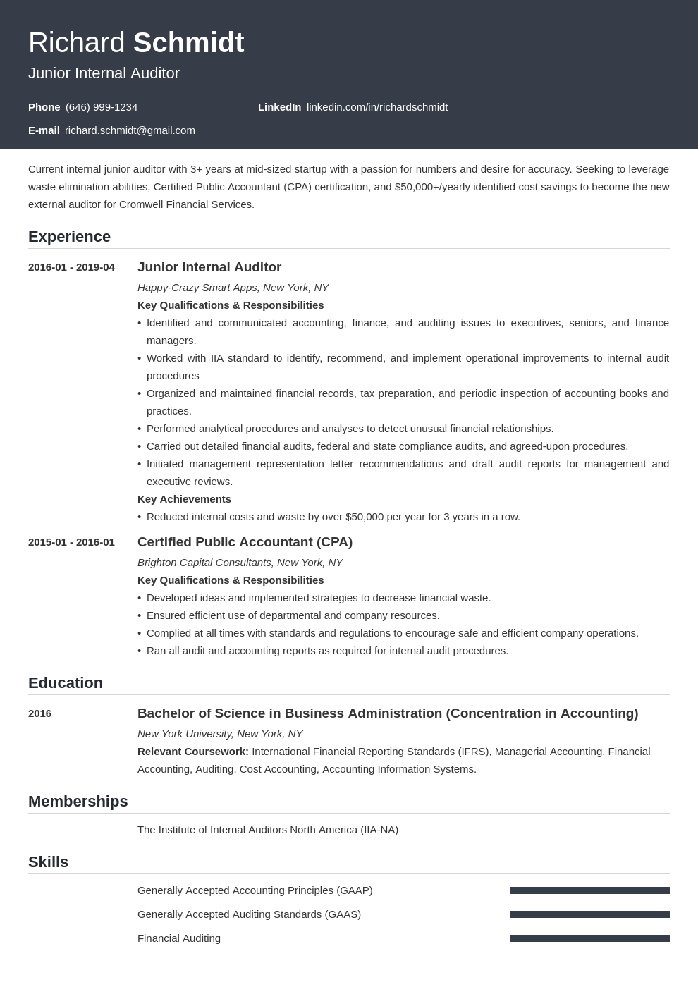 auditor resume example template influx in 2020 Architect