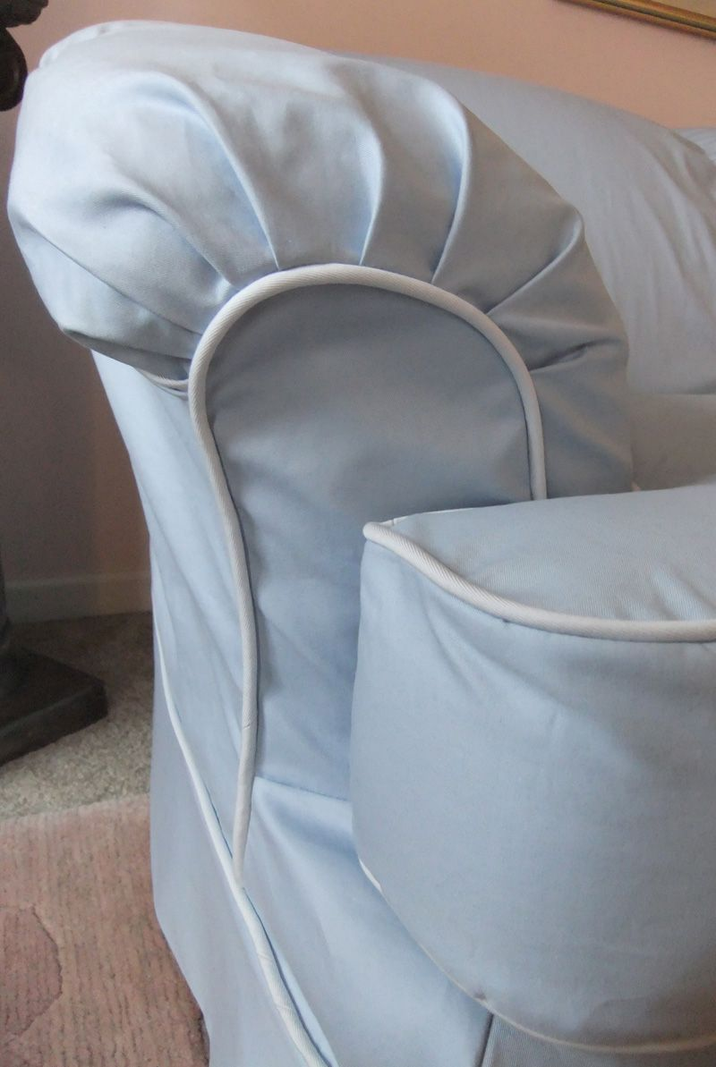 Sectional Sofa Slipcover With Pleated Arm And Contrast
