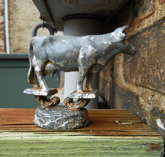 Vintage Cow trophy finial topper farmhouse chippy by SalvageRelics