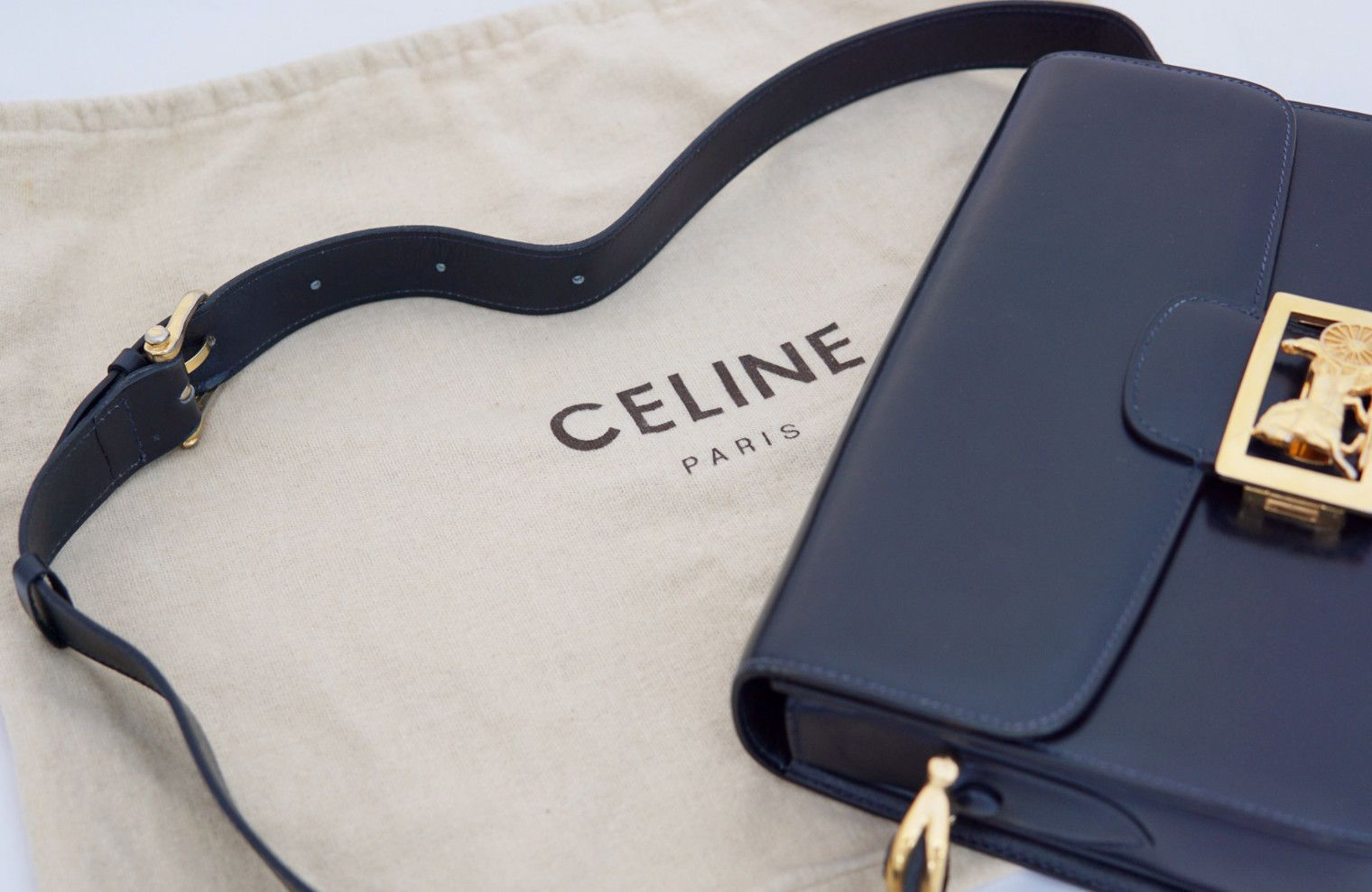 CELINE VINTAGE BAG Classic Box in Navy | Bags, Vintage