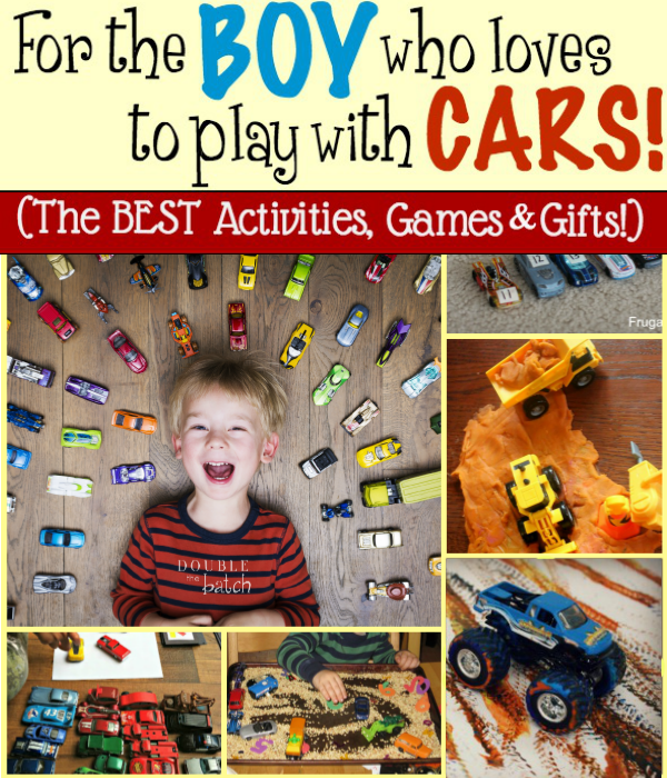 Oh how boys love their cars! Based on all the fun we've had with our boys we've compiled a huge round up of all our favorite games, activities, and toys that have to do with cars. Enjoy!