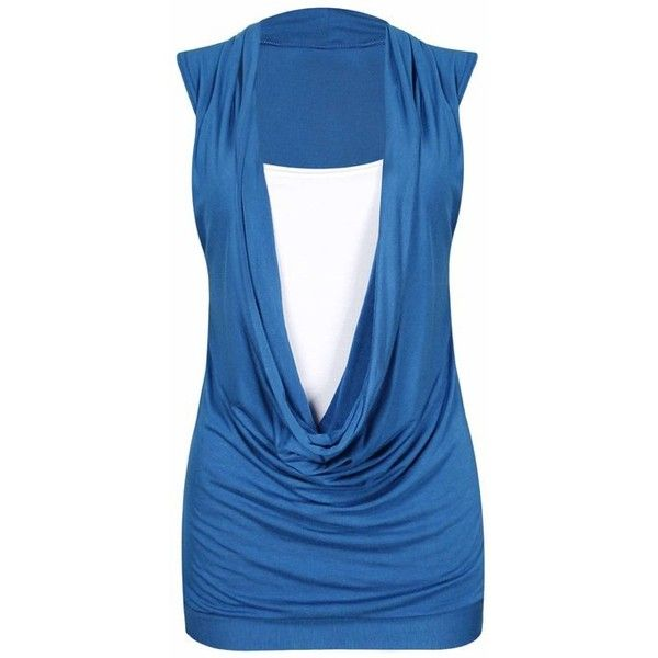 New Ladies Gathered Cowl Neck Stretch Insert Vests Womens Sleeveless... (115 CZK) ❤ liked on Polyvore