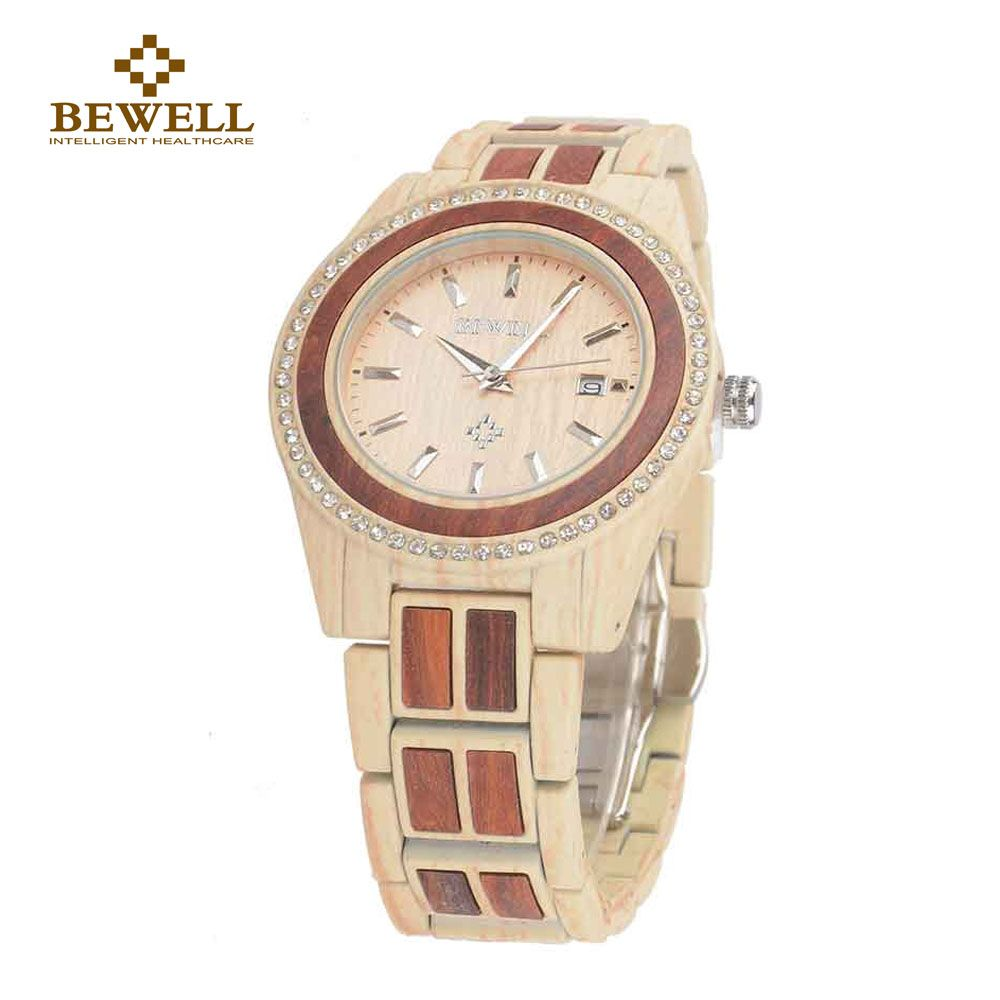 Bewell analog alloy wood watch women round luxury quartz watch women