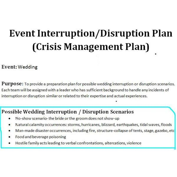 sample of a crisis management plan for wedding events