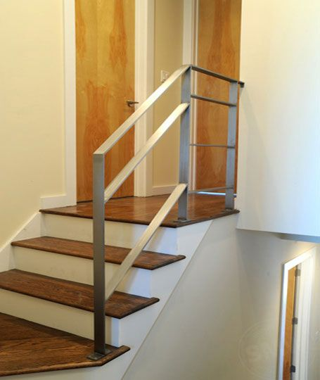 Best A Modern Flat Bar Stainless Steel Railing Installed 640 x 480