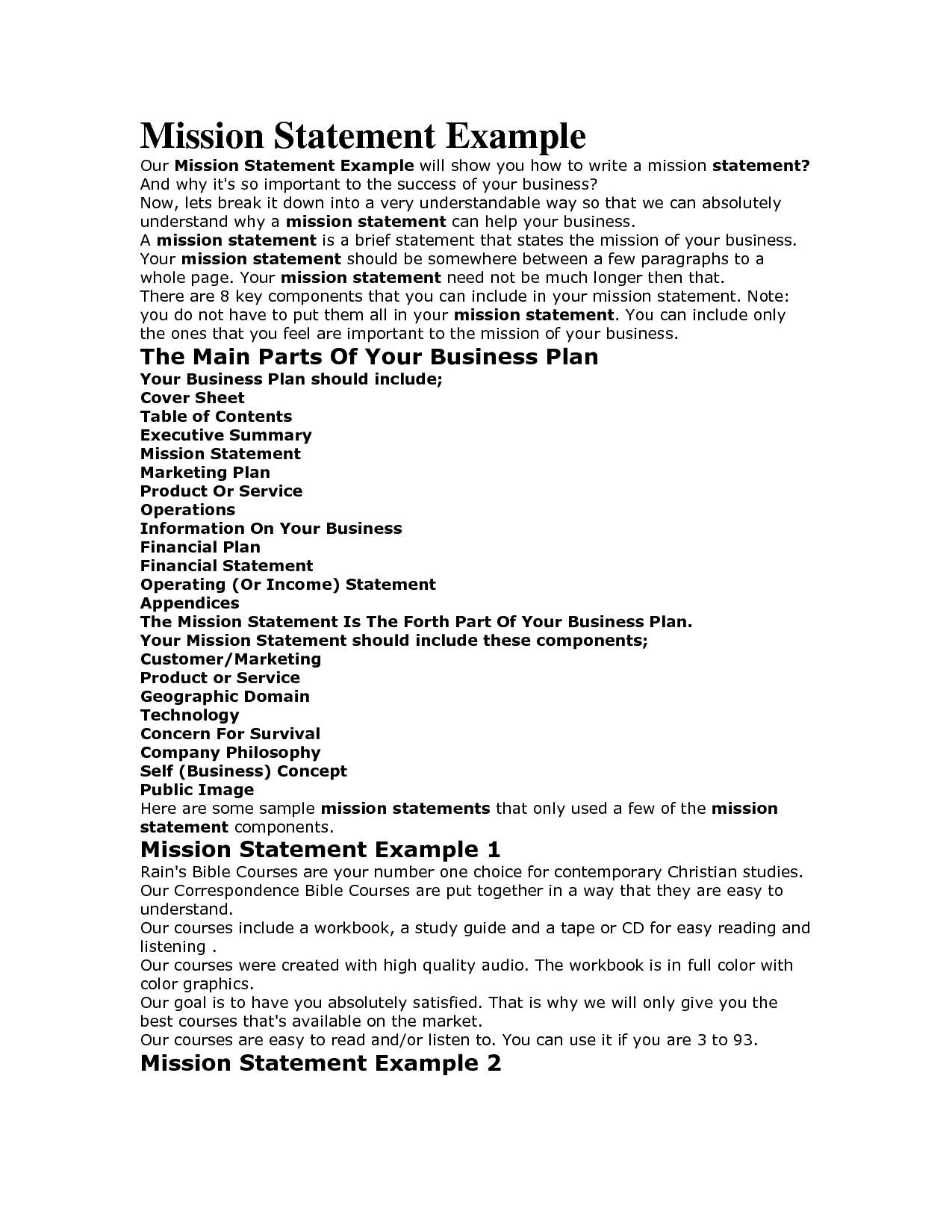 Personal Vision Statement Example Pdf Mission Examples