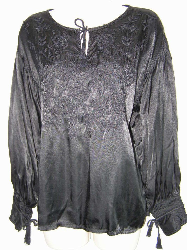 fabef5b9c72b57 Chico s 2 Black  SatinRayon Blouse Top 12 14 Corded Tassel Tie Cuffs Puff  Sleeve  Chicos  Blouse Versatile