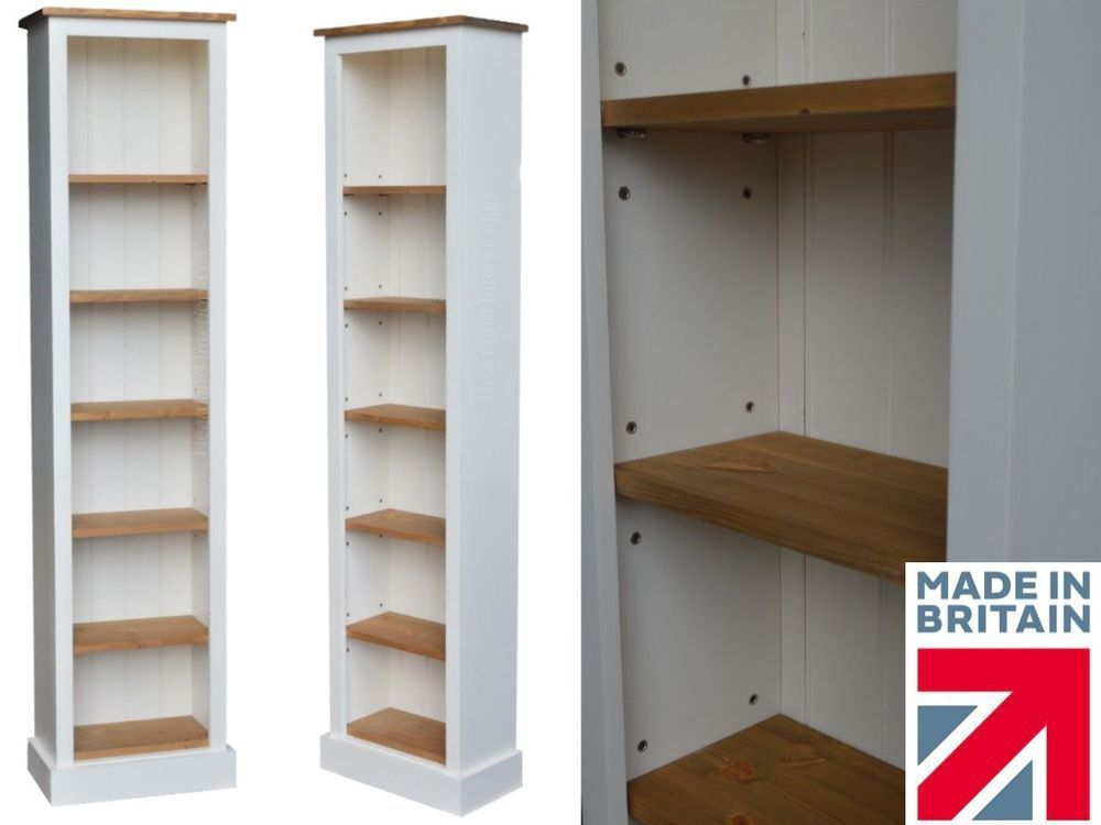Solid Pine Bookcase Cream Painted Waxed 6ft Tall Narrow Slim Jim Display Unit