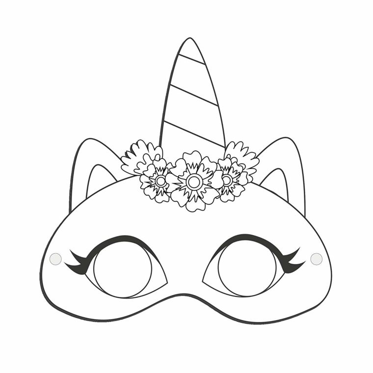 Maschere Da Colorare Maschera Di Unicorno Maschera Carnevale Per