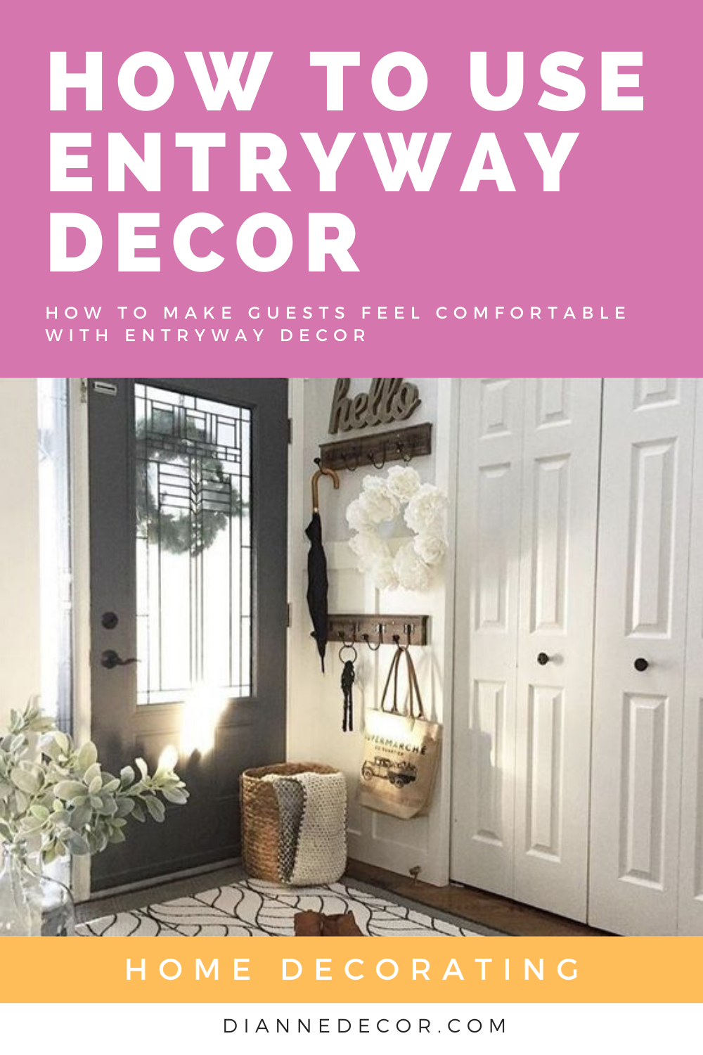 Welcoming guests to your home may seem like a no brainer, but there are a few details that can make a huge impact. Learn how to use entryway decor to make your guests feel welcome.    #entrywaydecor #homedecor #entrywayideas #homedecorating #roomideas #interiorstyling #interiordesign #mudroomdecor #mudroomideas #entryway