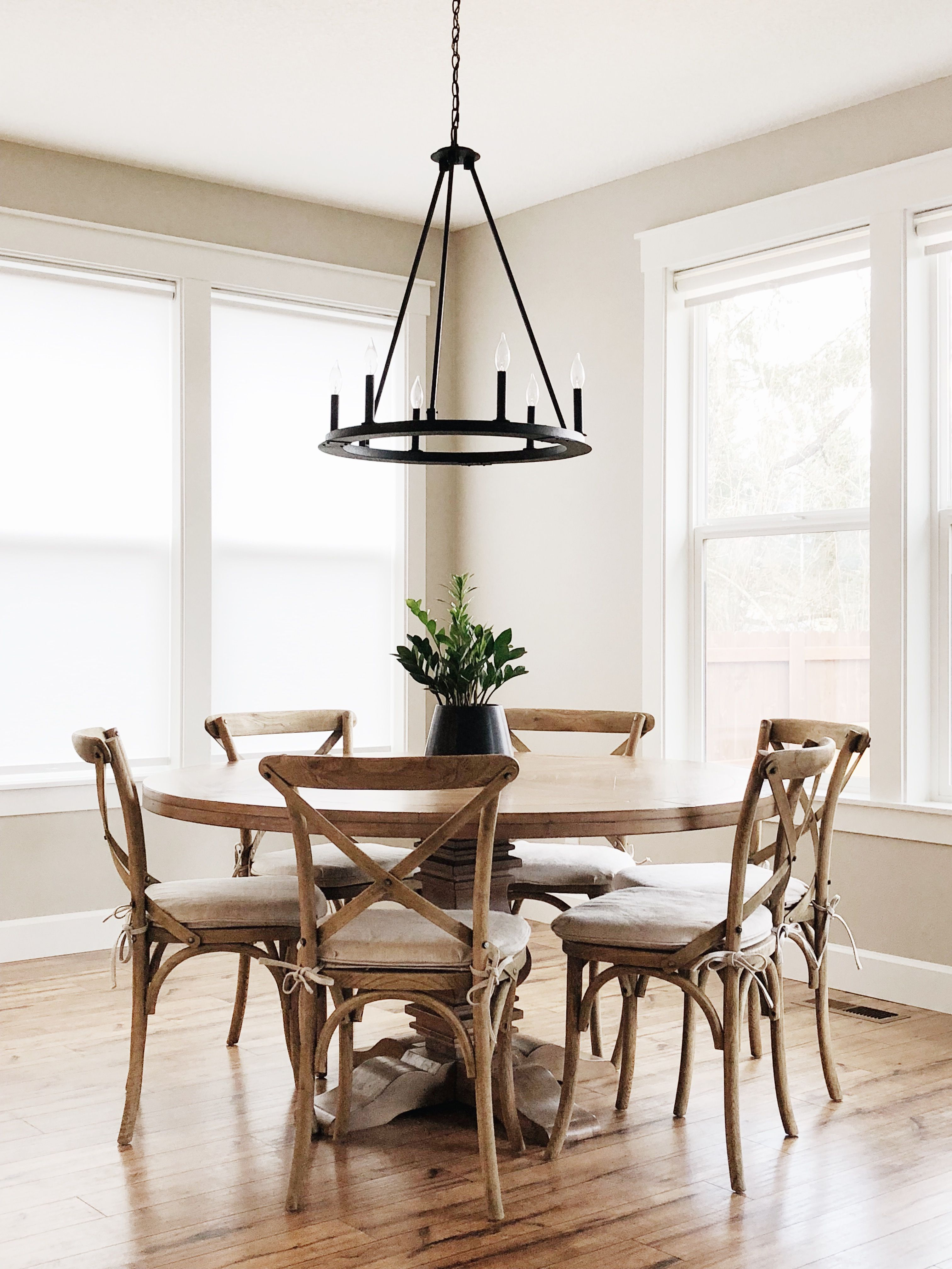 Restoration Hardware Inspired Round 60 Dining Table Modern Farmhouse Cross Back Chairs